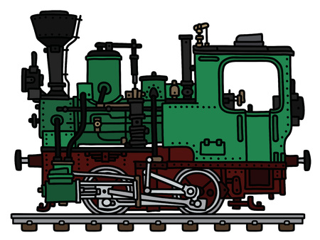 The vectorized hand drawing of an old green small steam locomotive