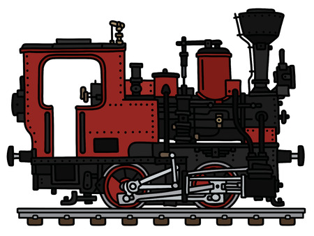 The vectorized hand drawing of an old red small steam locomotive