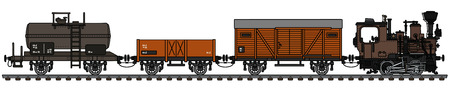 The vectorized hand drawing of o vintage small freight steam train