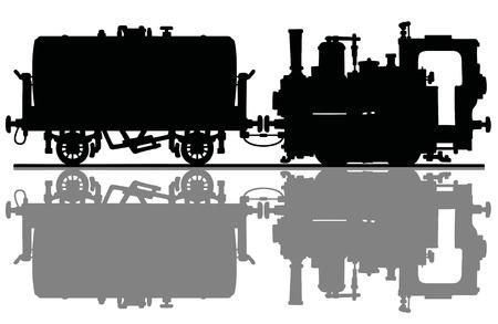La silueta negra de una pequeña locomotora de vapor vintage y el vagón cisterna Ilustración de vector