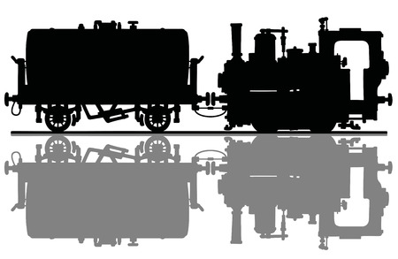 The black silhouette of a vintage small steam locomotive and the tank wagon Vector Illustration