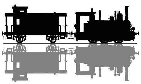 The black silhouette of a vintage small steam locomotive and the post wagon