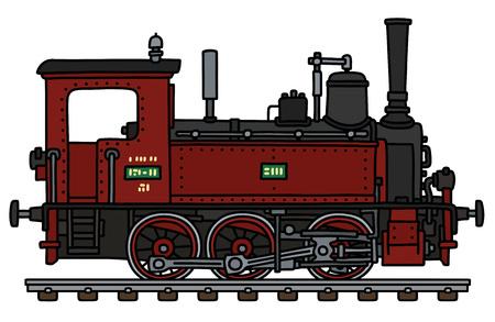 El dibujo a mano vectorizado de una pequeña locomotora de vapor roja vintage Ilustración de vector