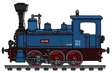 El dibujo a mano vectorizado de una pequeña locomotora de vapor azul clásica