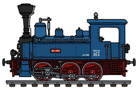The vectorized hand drawing of a classic blue small steam locomotive