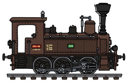 Die vektorisierte Handzeichnung einer klassischen braunen kleinen Dampflokomotive