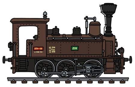 The vectorized hand drawing of a classic brown small steam locomotive