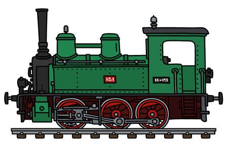 El dibujo a mano vectorizado de una pequeña locomotora de vapor verde clásica Ilustración de vector