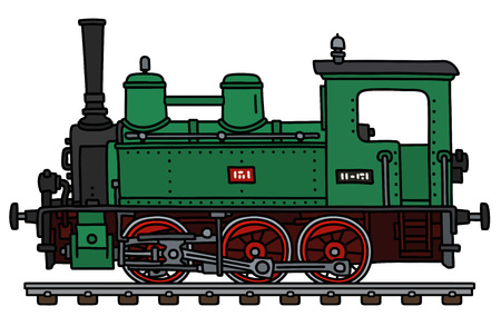 The vectorized hand drawing of a classic green small steam locomotive Ilustracje wektorowe