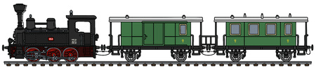 The vectorized hand drawing of a vintage small personal steam train