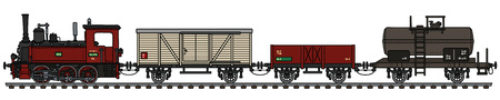 The vectorized hand drawing of a vintage red small freight steam train Vector Illustration