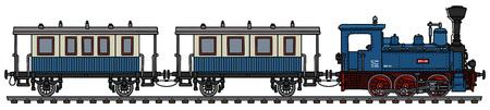 El dibujo a mano vectorizado de un pequeño tren de vapor personal azul vintage