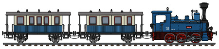 The vectorized hand drawing of a vintage blue personal small steam train