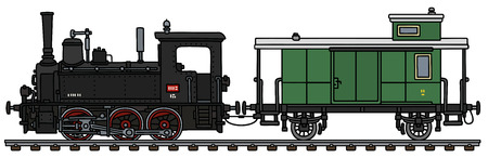 Vintage steam locomotive with a post wagon