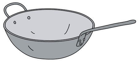The vectorized hand drawing of a classic stainless steel chinese pan Çizim