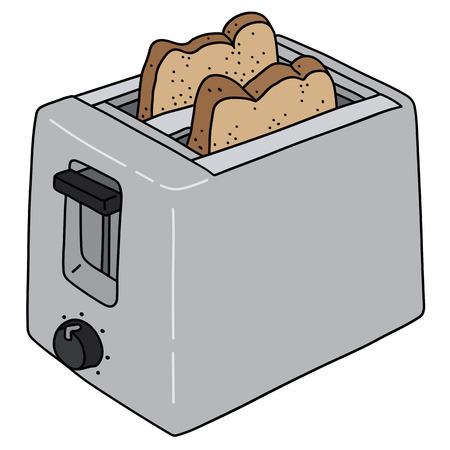 De gevectoriseerde handtekening van een roestvrijstalen elektrische broodrooster Vector Illustratie
