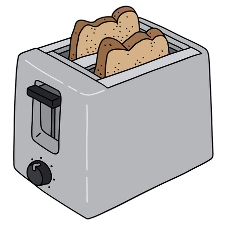 The vectorized hand drawing of a stainless steel electric toaster