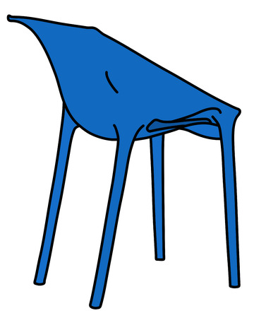 The vectorized hand drawing of a blue plastic simple design chair Illustration