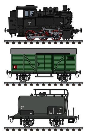 Stary parowy pociąg towarowy