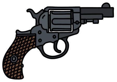 Le dessin à la main d'un revolver court classique