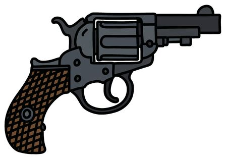 The hand drawing of a classic short revolver