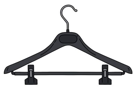 The vectorized hand drawing of a black plastic hanger