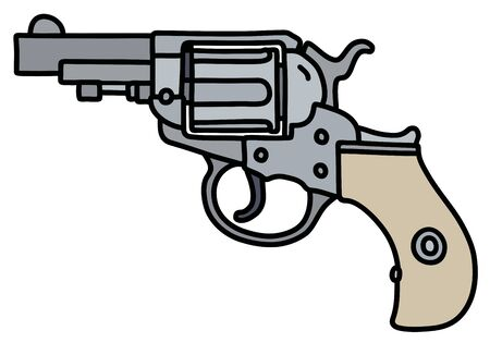 The hand drawing of a classic steel short revolver