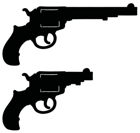 The hand drawing of a black silhouette of classic long and short revolvers Ilustração