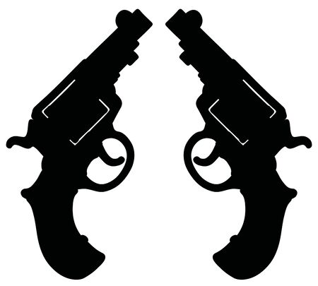 The hand drawing of a black silhouette of two short revolvers Illustration