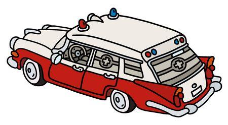 Der lustige alte rot-weiße Krankenwagen