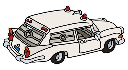 Der lustige alte weiße Krankenwagen Vektorgrafik