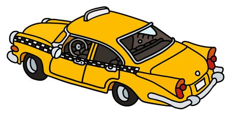 The vectorized hand drawing of a funny old yellow cab