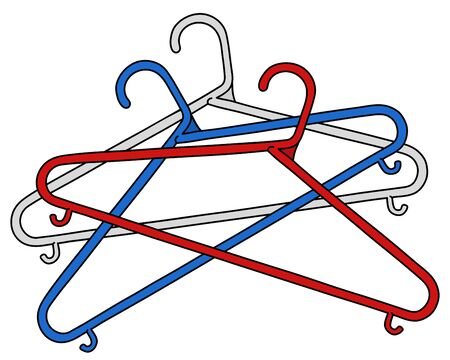 The vectorized hand drawing of three simple color plastic hangers