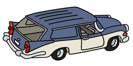 The funny old blue and white station wagon