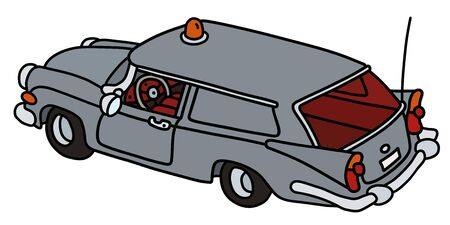 The funny old gray service delivery car  イラスト・ベクター素材