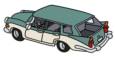 The funny old green and white station wagon