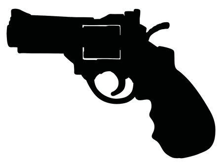 The black silhouette of the modern black heavy short revolver