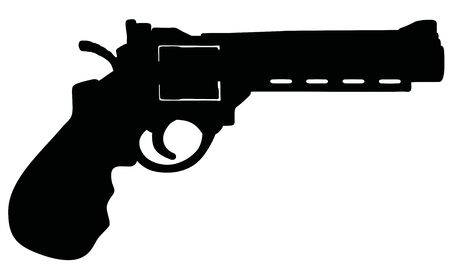 The black silhouette of the modern large revolver Illustration