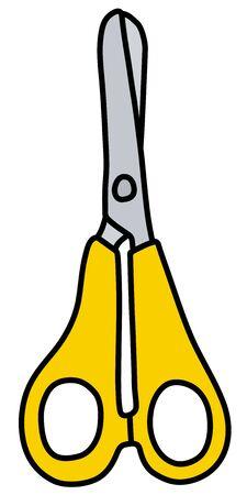 The small yellow baby scissors Illustration