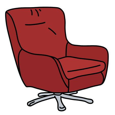 The red designed comfortable armchair