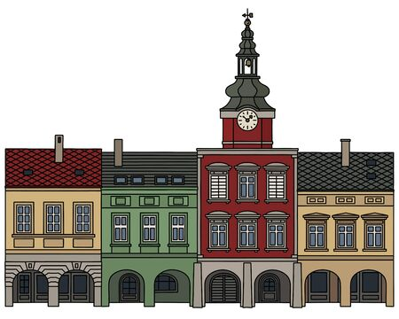 The hand drawing of four historical burger houses Иллюстрация