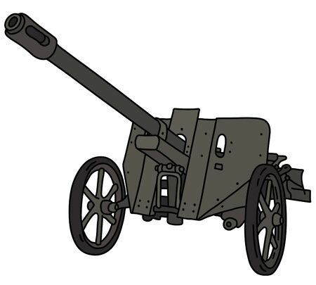 The vectorized hand drawing of a vintage dark green field cannon