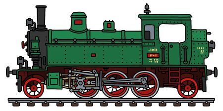 The vectorized hand drawing of a retro green tank engine steam locomotive Illustration