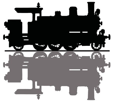 The hand drawing of a black silhouette of a vintage tank engine steam locomotive Illustration