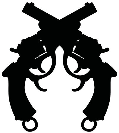 The black silhouette of two classic revolvers
