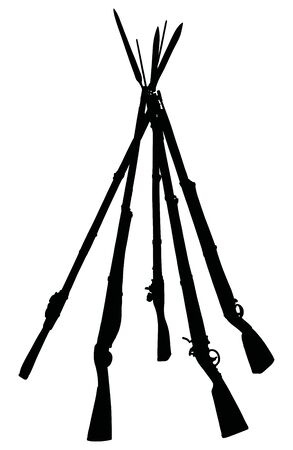 The black silhouette of five vintage military rifles built into the pyramid
