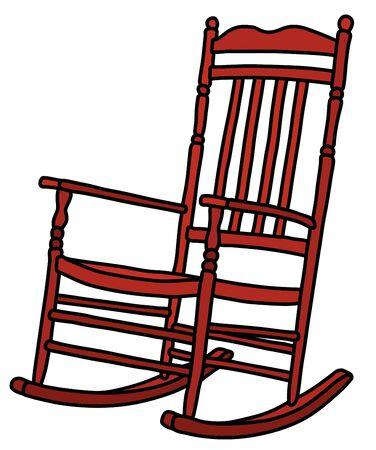 La classica sedia a dondolo in legno rosso Vettoriali