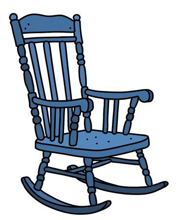 La vecchia sedia a dondolo in legno blu