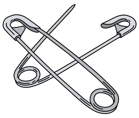 Two classic steel safety pins