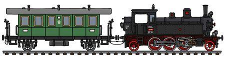 Die alte Tenderlokomotive und ein grüner Reisebus